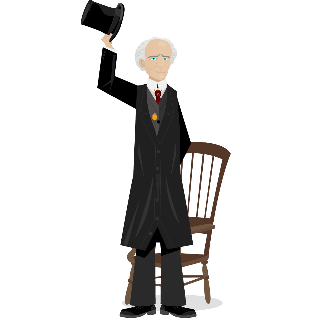 Drawing of Wilfrid Laurier standing greeting us while raising his high-hat. He is dressed in his black and gray coat, a red tie decorated with a gilded horseshoe, and his gold pocket watch. A chair is behind him.