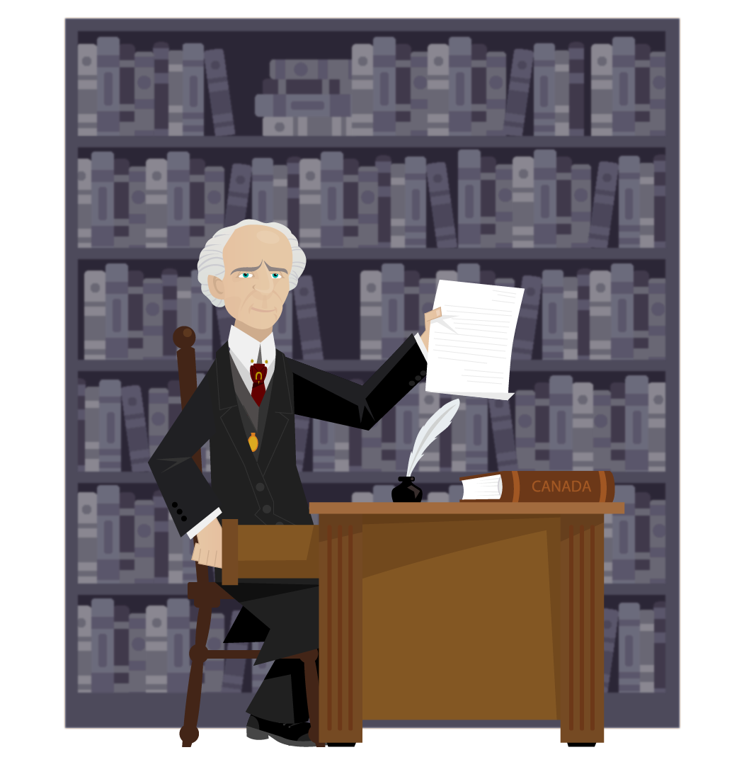 Drawing of Wilfrid Laurier sat at his desk showing us a speech. He is dressed in his black and gray coat, a red tie decorated with a gilded horseshoe, and his gold pocket watch. A book marked Canada and a pen in an inkwell are on his desk. There is a large library in the background.