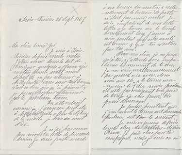 Pages 1 and 4 of a handwritten letter, part of the large amount of correspondence between the couple.