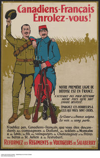 First World War recruiting poster featuring two men with an arm on each other's shoulder. One is wearing a green army uniform and holding his hat in the air in his right hand. The second is dressed in a red and blue uniform and holding two rifles. In the background is a line of soldiers following a man on horseback. The poster reads
